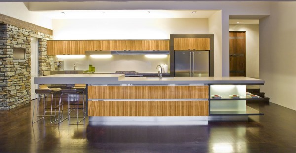 bamboo accented modern kitchen