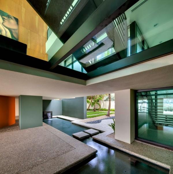 Dwy Landscape Architects-angular piscina característica da água que arrasta fora para dentro