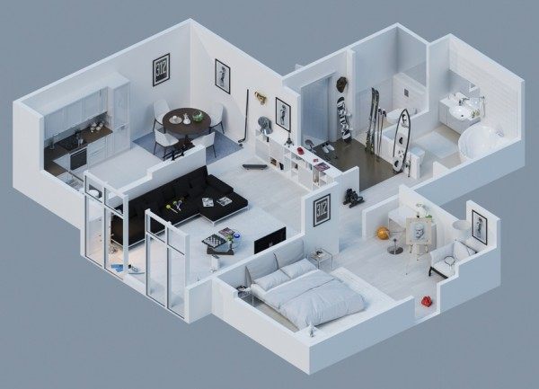 Designs 1 & 2 are simple, with neutral colors and resemble a bachelor pad for a young man.