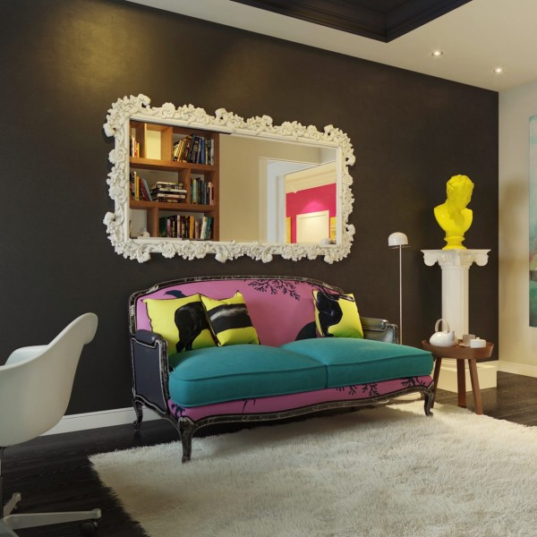As you can see through the photos, the pop art design is carried throughout the home in the bedroom, bathroom, foyer, and office space. Each room has that intense color splash in the art or furniture. The foyer is by far the brightest in the home with hot pink walls and a wall sized pop art painting that commands the space. You can't help but stop and stare at this piece. The bathroom is very bright with lime green tiles filling the room. This home is very cohesive in the design and layout. Many rooms have dark hardwood but the spaces are lighter with the bright furniture and art. Those touches of pop art flare create a design that is perfect for someone who wants to take a risk and do something totally different in their home.