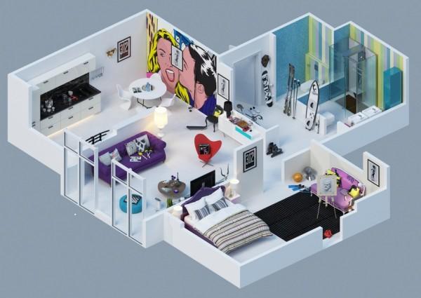 colorful pop art apartment