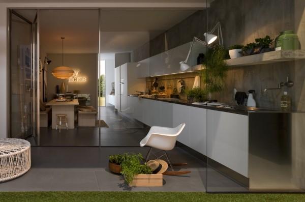 linear kitchen design glass doors