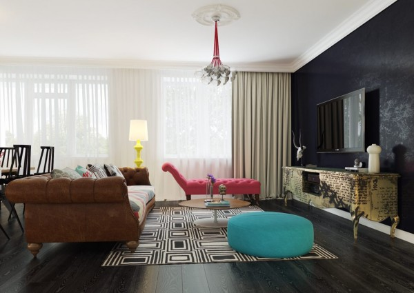 living room dark accent wall