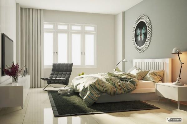 green sunny bedroom