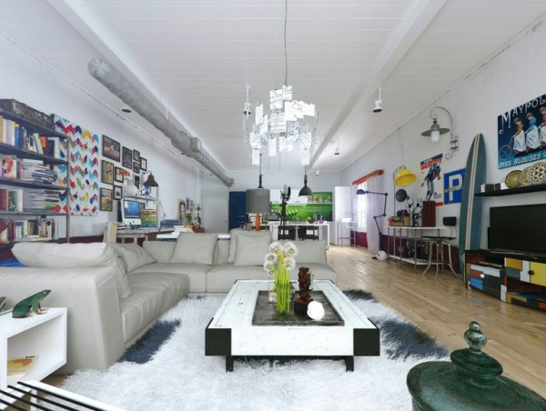 What some may call clutter in this long, modern living room is actually the stuff that a real home is made of. Necessary but stylish items line every wall from a flatscreen television to a surfboard to chock-full bookcases. The youth of the space comes through loud and clear.