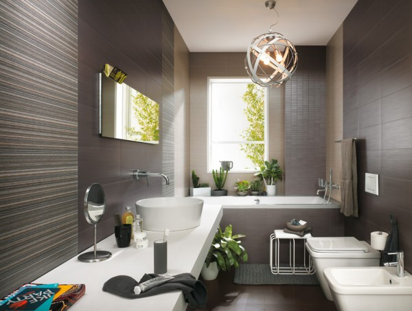 Using a selection of different tiles within the same color family can make a small space look amazing.