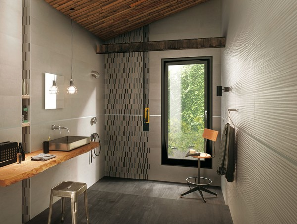 Black beige bathroom tiles
