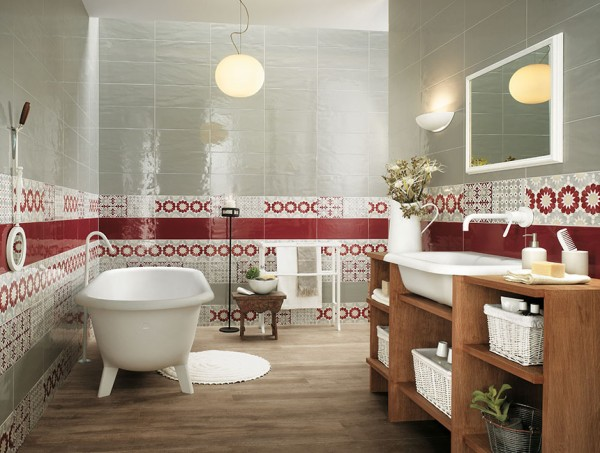 Red white bathroom border tiles