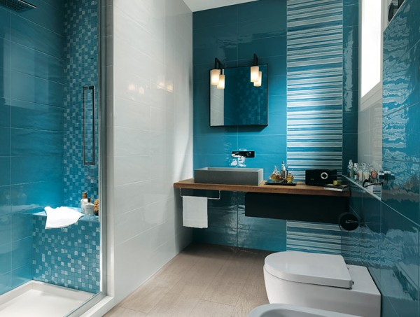 Aqua blue bathroom