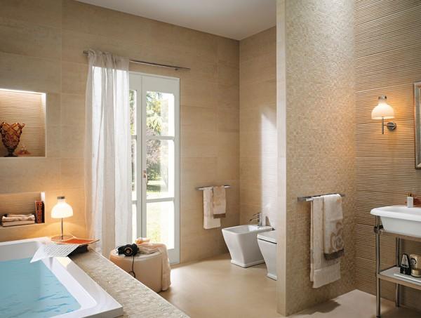 Cream bathroom tiles