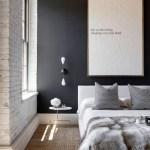 [clip]白x黒いアクセントウォール 寝室