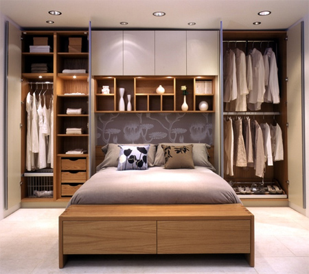 HOME DZINE Bedrooms | Storage ideas for a small main or ... on Main Bedroom Decor  id=68773