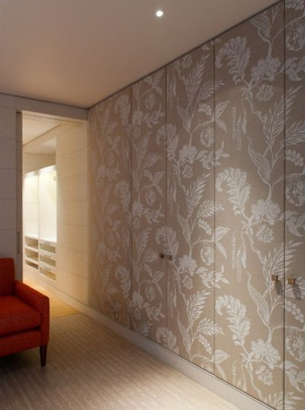 dress up closet doors with wallpaper