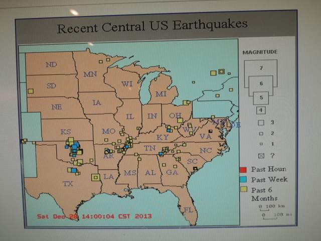 Map of Earthquakes in and around Oklahoma