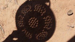 Solar eclipse through a colander!