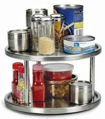 stainless steel lazy Susan Pantry and Spices Organization