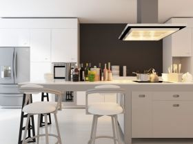 modern and universal contemporary kitchen with white bar stools
