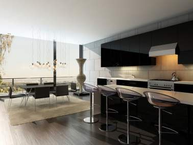 contemporary kitchen with bar stools that are spot on
