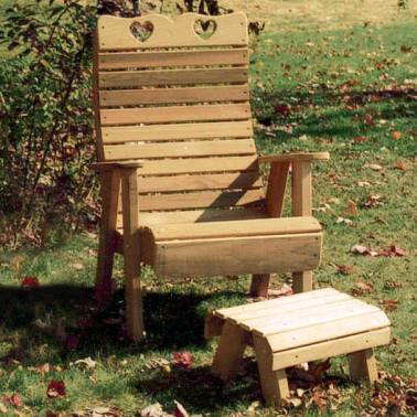 Creekvine Designs Cedar Country Hearts Patio Chair and Footrest Set
