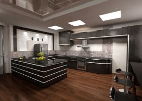 grey kitchen with large space and wood flooring