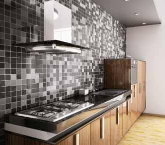 kitchen with grey splashback on tiles
