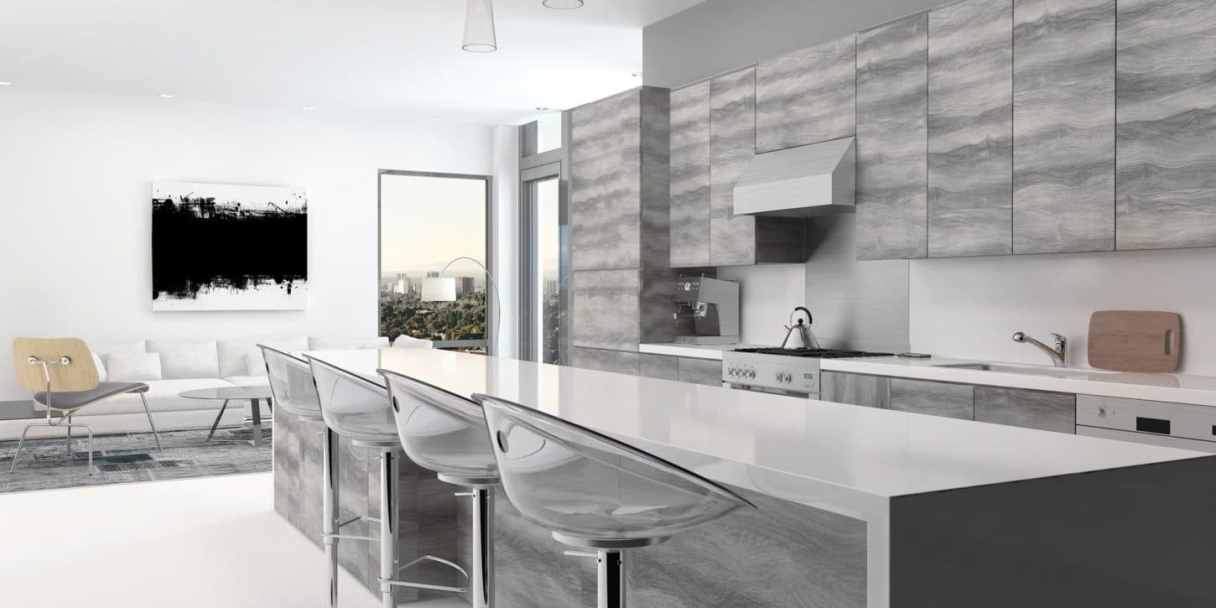 fancy grey kitchen with high-end bar stools