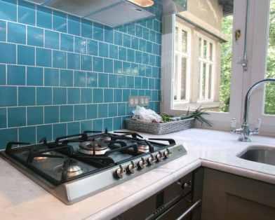 plain blue kitchen wall tiles