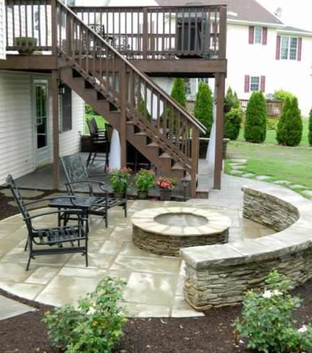 Patio under deck with separate fire-pit patio. - Traditional ...