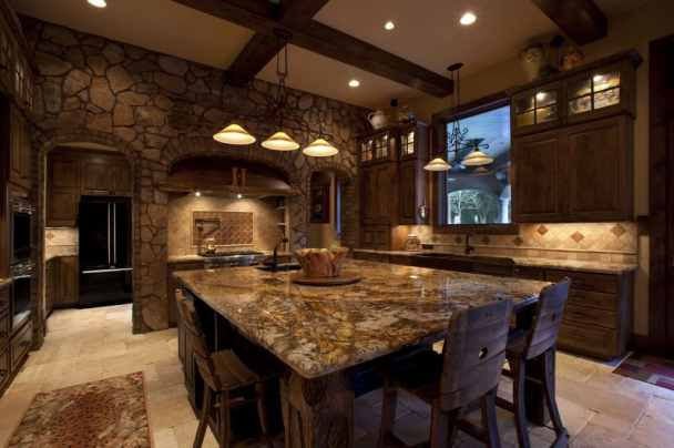 rustic kitchen with stylistic features of the past