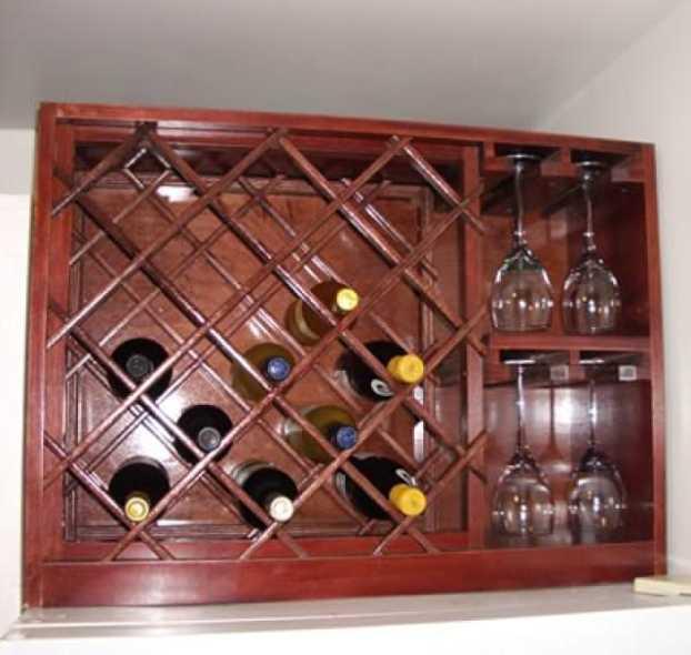 Wine Rack with Built-in Wine Glass Storage