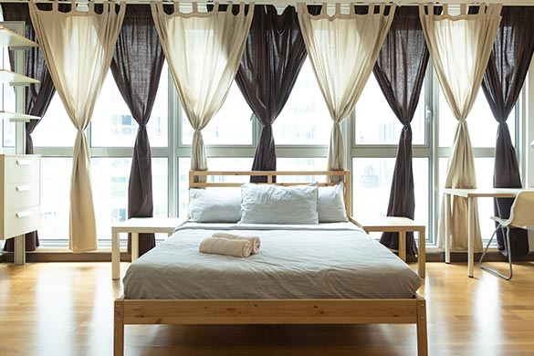 Interior design ideas bedroom drapes