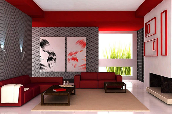 Living room architecture contrasting colors and sleek design