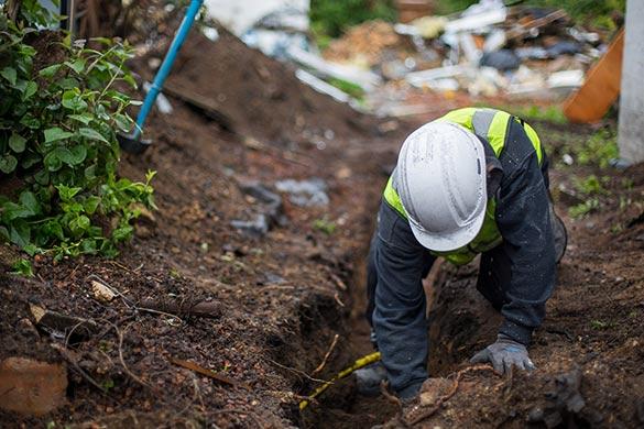 Water and plumbing leak in buried main line