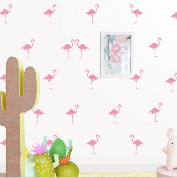 Vinilo decorativo infantil FLAMENCOS rosa de Sweet V