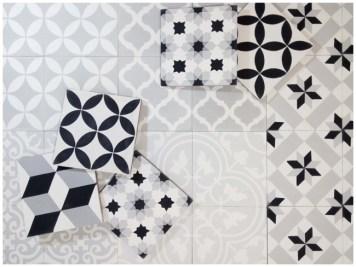 Patchwork black and white Yanyare Baldosas Hidraulicas