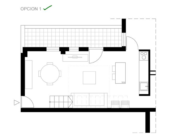 distribución de un salón pequeño