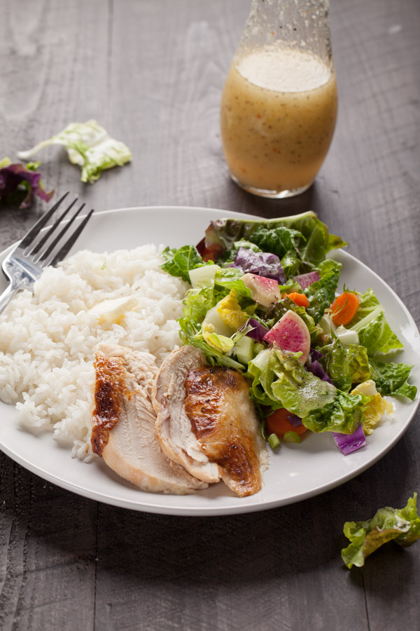 Gourmet Italian salad with rotisserie chicken and white rice