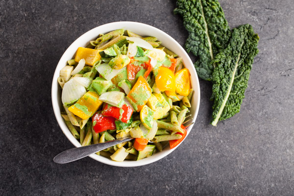 Penne Pasta and Roasted Vegetables with Creamy Kale Sauce