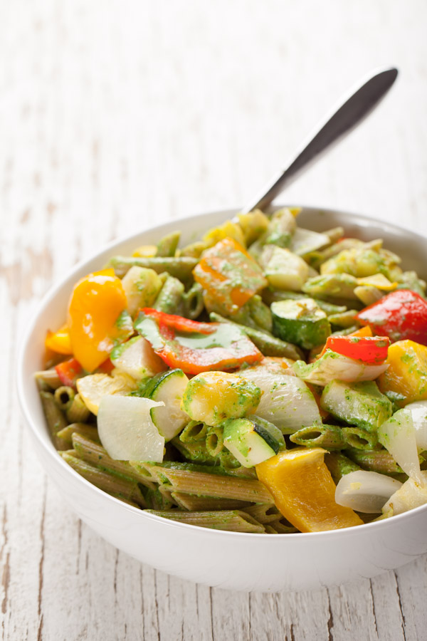 Penne Pasta and Roasted Vegetables with a Creamy Kale Sauce