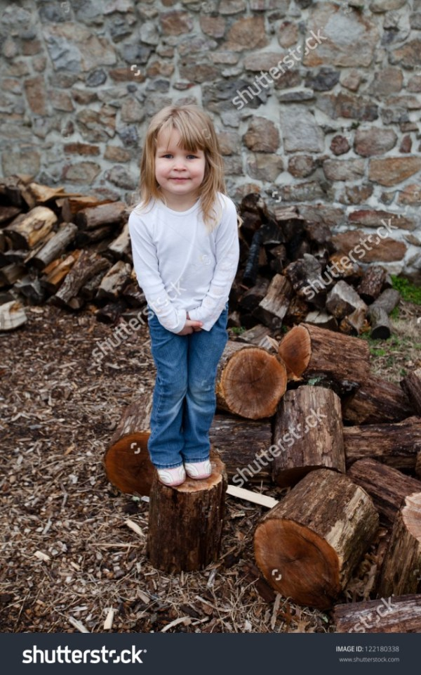 girl standing on logs - income report