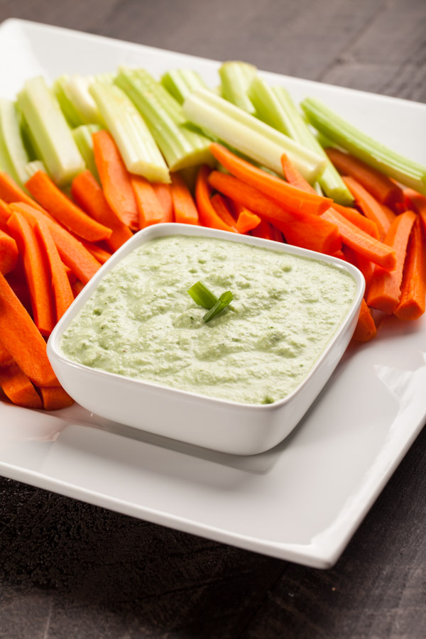 Healthy Menu Plan Creamy Radish Dip with celery and carrots