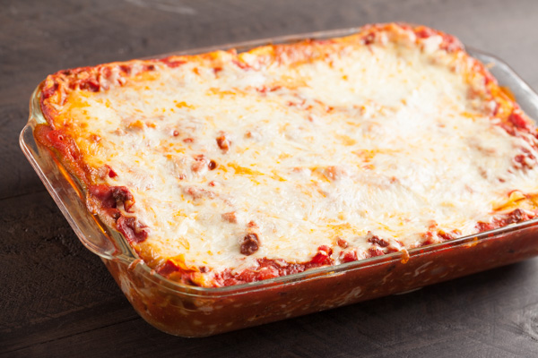 Italian Lasagna with ricotta, cream cheese, mozzarella, parmesan cheeses and a homemade Italian spaghetti bolognese sauce.
