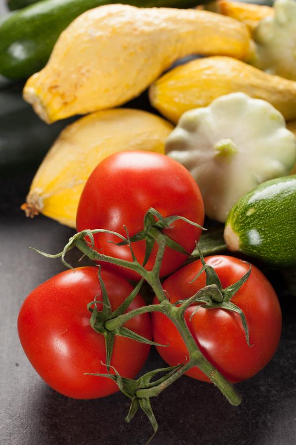 Zucchini Chili ingredients - zucchini and tomatoes