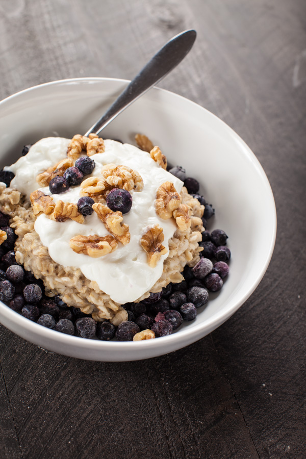 Greek Yogurt Blueberry Oatmeal with Chia Seeds and Walnuts
