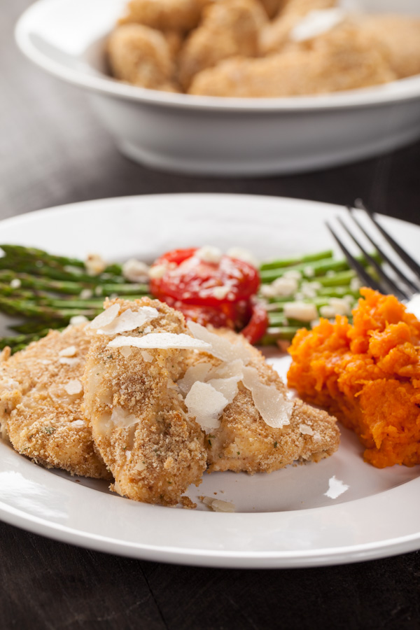 Healthy Menu Plan Parmesan Crusted Chicken Tenders with Roasted Asparagus and Sweet Potato-2