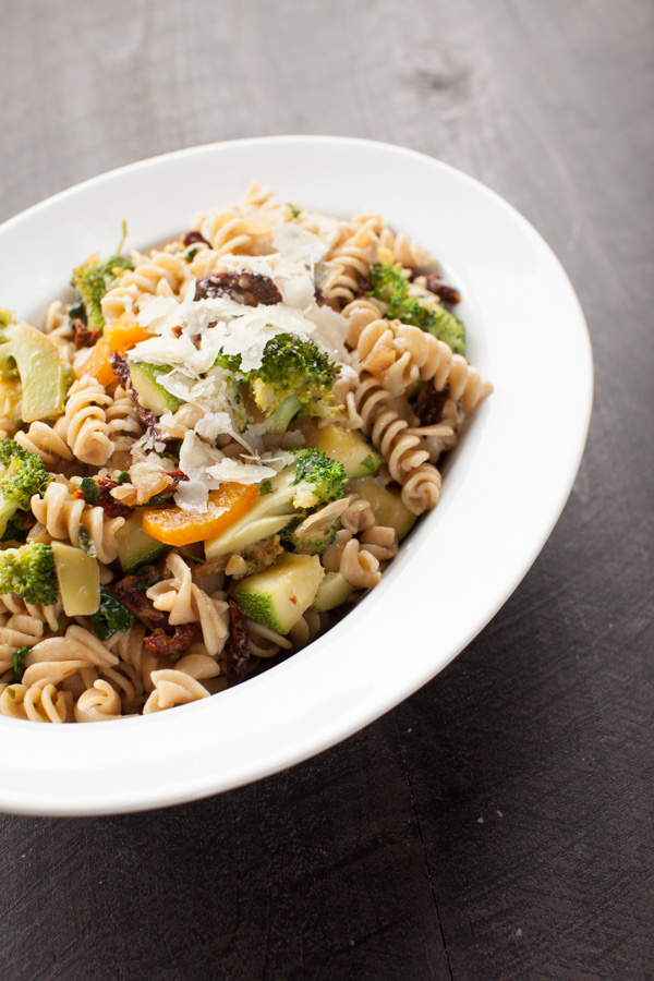 Vegetable Pasta with Sun Dried Tomatoes and Parmesan Cheese