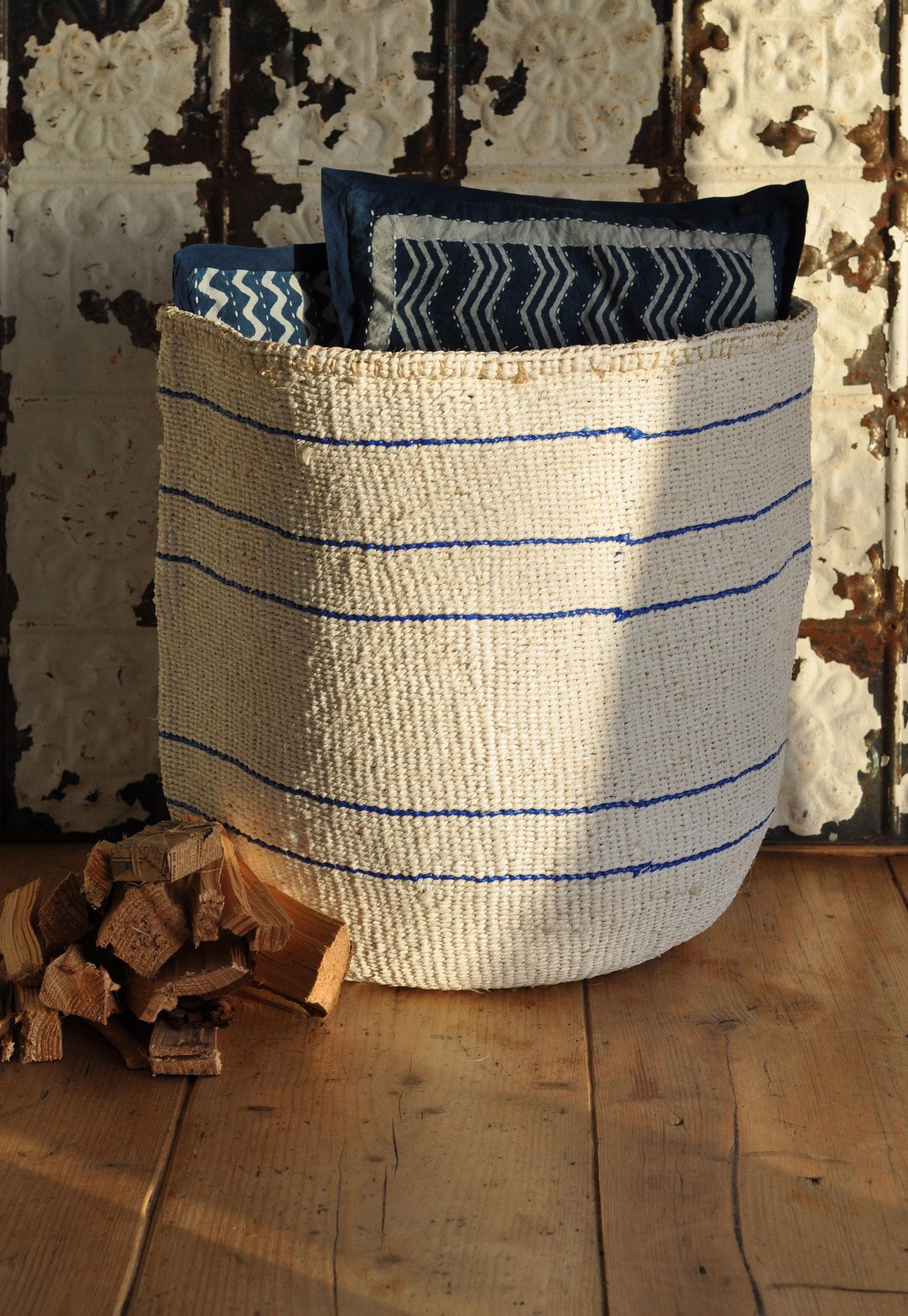 Round Striped Sisal Storage / Log Basket