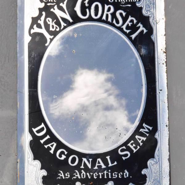 1800's Antique Promotional Draper Mirror Y & N Corset