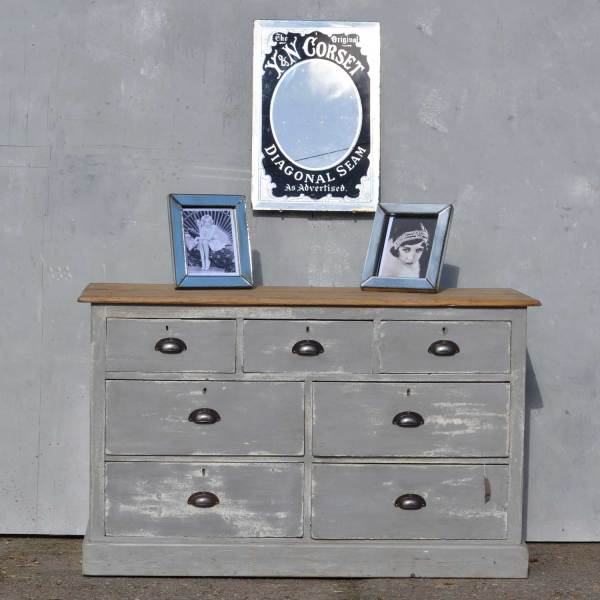 large Victorian painted pine chest of drawers