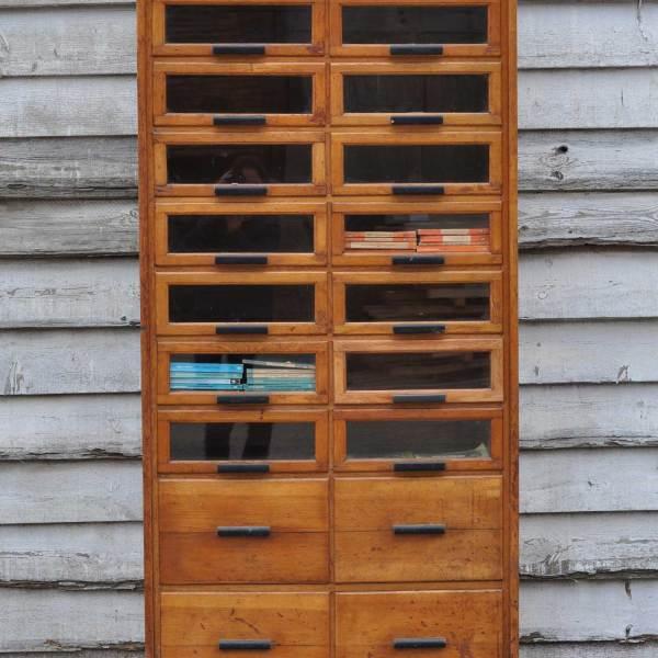 vintage oak haberdashery cabinet